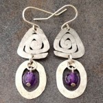 Sterling Silver Geometric Earrings with Triangles, Circles and Amethyst