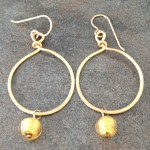 14K Gold Filled Hoop Earrings with Murano Beads