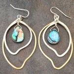Sterling Silver and 14K Gold Filled Earrings with Two Leaves and  Abalone