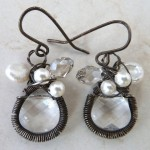 Sterling Silver Wrapped Crystals and Pearls Earrings