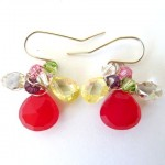 Sterling Silver Earrings with Wrapped Cherry Briolettes and Crystals