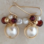 14K Gold Filled Earrings with  Wrapped Pearls, Garnet, and  Fresh Water Pearls