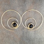 14K Gold Filled Swirl Hoop Earrings with Black Onyx