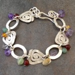 Sterling Silver Circles and Triangles Bracelet with Semi Precious Stones