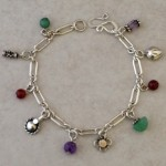 Dainty Bracelet with Semi-Precious Stones and Sterling Charms